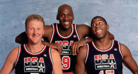 Larry Bird, Michael Jordan and Magic Johnson in a photo shootout for 92 Olympics, 1992